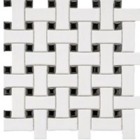 Black and White Porcelain Basketweave Mosaics