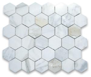 Calacatta Marble HONED 2 Inch Hexagon Mosaics
