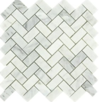 Carrara Marble HONED 1X2 HERRINGBONE