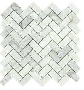 Carrara Marble HONED 1×2 Herringbone Mosaics