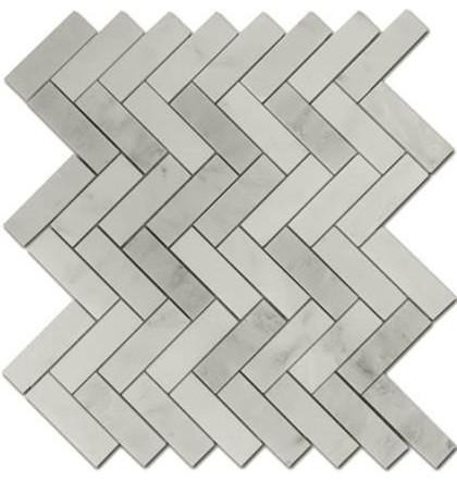 Carrara Marble HONED 1×3 Herringbone Mosaics