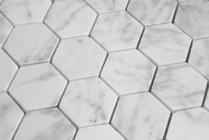Carrara Marble HONED Inch Hexagon Mosaics Tigard Carpet Amp - 2 carrara marble hexagon floors