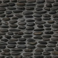 Black Stacked Pebble Mosaic Tile